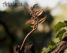 "Hair Stick ""Vine Leaves"", Handmade Alder Wood Hair Stick, Handcarved Vine Leaf Hair Accessories - MADE TO ORDER"