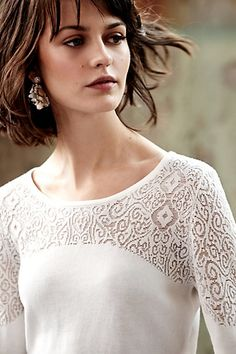 I like the pattern on the top of the sweater, both on the bodice and sleeves Nettie Pullover - anthropologie.com