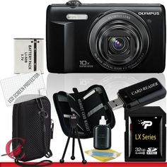 Olympus VR-340 Digital Camera (Black) 32GB Package 3 by Olympus. $126.60. Package Contents:  1- Olympus VR-340 Digital Camera (Black) w/ All Supplied Accessories 1- 32GB SDHC Class 10 Memory Card   1- USB Memory Card Reader  1- Rechargeable Lithium Ion Replacement Battery  1- Weather Resistant Carrying Case w/Strap  1- Pack of LCD Screen Protectors  1- Camera & Lens Cleaning Kit System  1- Mini Flexible Table Top Tripod 1- Memory Card Wallet