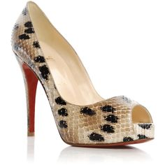 Christian louboutin shoes BEIGE (€650) ❤ liked on Polyvore featuring shoes, pumps, heels, zapatos, sapatos, обувь, louboutin, beige, christian and leopard peep toe pumps