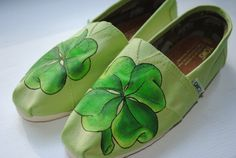 Hand Painted Toms in a Four Leaf Clover Design, Custom Hand Painted Shoes
