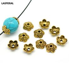 LASPERAL 100PCs Ancient Gold Tone Flower Bead Caps Bracelet & Necklace DIY Jewelry Findings Fit Beads Jewelry Accessories 10x4mm(China (Mainland))