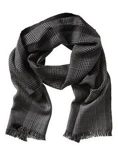 Charcoal plaid wool scarf | Banana Republic | $59.50