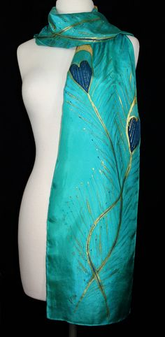 Teal & Turquoise by SilkScarvesColorado 11 x 60 Peacock feathers Hand Painted Dress, Painted Clothes, Painted Silk, Handmade Scarves, Handmade Gifts, Feather Scarf, Teal, Turquoise, Peacock Feathers