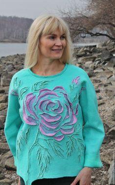 Купить Свитер валяный Розовая роза - бирюзовый, цветочный, роза, свитер женский, свитер валяный