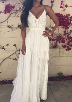 white Lace Spliced Open Back Maxi Dress