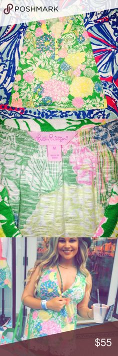 """Lilly Pulitzer Sleeveless Essie Top Size Medium Spring 2016 Sleeveless """"Essie"""" Top by Lilly Pulitzer. Worn once & is in perfect condition. Reduced price on Ⓜ️ercari. Lilly Pulitzer Tops Tank Tops"""