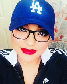 Always smile! You never know whose looking!  #smile #dodgers #losangeles #glasses #loveyourself #redlipstick #lipstick #lifeisgood #adidas #threestripes #mexicana #chingona #besos #kisses