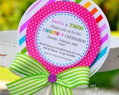 Cumpleaños de Candyland invitaciones, invitaciones de Candyland Lollipop, lollipop Party - juego de 10
