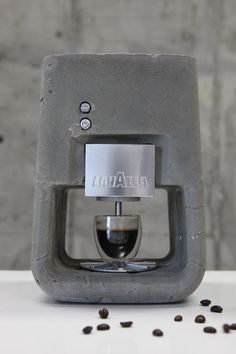 Israeli designer Shmuel Linski created an espresso machine called Espresso Solo using concrete as the primary material. He wanted to make a desirable consumer product for the kitchen from concrete to complement the other more typical uses of concrete in our kitchens such as walls or countertops.
