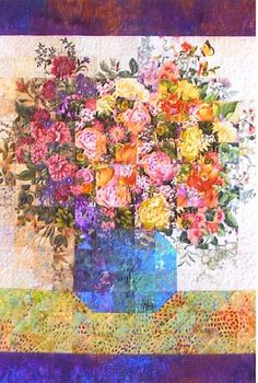"Fiber Art Quilts-Miscellaneous - Eileen Williams, ""Spring Bouquet "" 28 x 24 inches Sold"