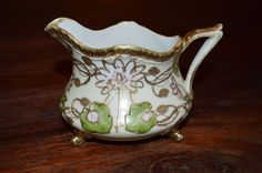 Vintage Footed #Nippon Heavy Gold Gilt #Creamer
