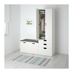 STUVA Storage combination with bench IKEA Deep enough to hold standard-sized adult hangers. Doors with silent soft-closing damper. Ikea, Furniture, Ikea Home, Ikea Stuva, Storage, Childrens Storage Units, Storage Bench, Home Furnishings, Affordable Furniture
