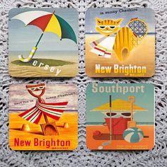 Beaches of Britain  Vintage British Tourism Posters mousepad coaster set coasters by Polkadotdog