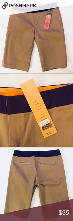 "NEW Tan shorts w contrast waistband Beautiful brand new shorts with purple waistband. Narrow leg. Stretch fabric (97% cotton / 3% spandex). 12"" inseam. Tory Burch Shorts Bermudas"