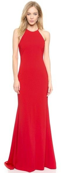 $660, Red Evening Dress: Badgley Mischka Collection Halter Odessa Gown. Sold by shopbop.com.