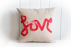 LOVE Pillow  Peachy Pink Velvet ribbon on Wheat Fabric by adairya2, $24.00