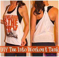 My favorite DIY! Cut an old tee shirt into a cute workout tank!