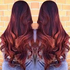Deep Red Hair and Copper Highlights
