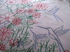 Dzsungeles selyem kendő sablonja - papírból selyemkendő