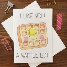 Let someone know that you like them a WAFFLE lot! This food pun card is the cutest, snail mail it to someone special!  ***PRODUCT DETAILS***  *You will receive 1 card with matching envelope  *Original watercolor illustration/design by me  *Printed on quality, heavy weight, textured paper  *Each card measures about 5 x 7  *Ships flat in cello sleeve  Find more cards like this one here: https://www.etsy.com/shop/ARIllustration?section_id=17616034&ref=shops...