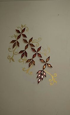 Wall decoration with chocolate mould and acrylic colour