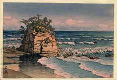Kawase Hasui,Eboshi rock, Kawarago (Kawarago Eboshiiwa ) / 河原子エボシ岩 , Woodblock print,ink and color on paper,Date:1945,Horizontal ōban,Hotei:P531 #474,<--- Kawarago,Hitachi city,Ibaraki prefecture, Japan --->
