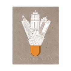 """Kansas City Icons"" Screen Printed Shuttlecock Poster"