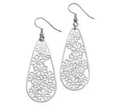 Stainless Steel Elongated Floral Teardrop Earrings — QVC.com