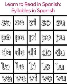Learning to Read Syllables in Spanish - LadydeeLG