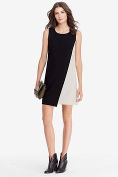 The DVF Livvy is a chic, graphic take on the classic shift dress. An open crew neck is easy and flattering, while a contrast panel provides an unexpected, modern feel.