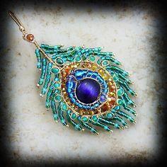 Olga Schneider Peacock Feather Earrings: 14K gold, Emerald, Yellow Sapphire, Topaz, Garnet, Citrine, Green onyx, Miyuki beads