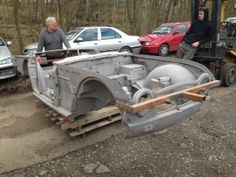 Check out this Triumph TR4 body, before and after shot blasting.