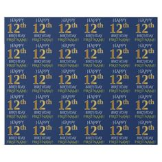 "Blue Faux Gold ""HAPPY 12th BIRTHDAY"" Wrapping Paper - wrapping paper custom diy cyo personalize unique present gift idea"