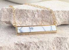 Simple Gold Bar Necklace. Everyday Gold Bar White Turquoise Pendant Necklace. Dainty Gold Bar Necklace. Gift for Her. Christmas Gift.