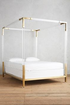 Lucite and Brass Four-Poster Bed