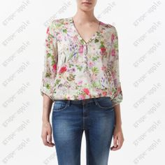 HOT WOMENS FLORAL PRINTS V-NECK ROLL UP SLEEVE LOOSE FIT CHIFFON SHIRT TOP 3527