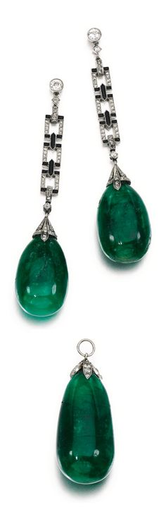 An Art Deco emerald, onyx and diamond demi parure, 1920s. Comprising: a pendant, set with an emerald drop capped with millegrain-set circular-cut diamonds; and a pair of earrings, each suspending an emerald drop from an articulated line of links set with polished onyx and rose diamonds, to a circular-cut diamond surmount, post fittings.
