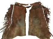 Western full-leather chaps with fringe. Very nice, heavy leather chaps with a zippered closure on either side of each leg covered by the leather fringe. Silver-toned buckles at the front and back. The leather is in good condition overall. There are a several markings and some very dirty places on the leather that might come clean if these are professionally cleaned. This just adds to the authenticity and character of the chaps.
