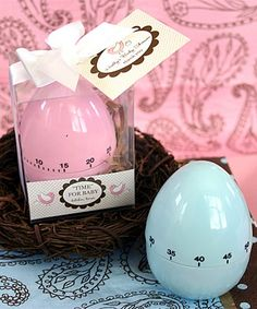 The baby is coming and time is running out! But don't worry, these unique favors are the perfect thank you for your baby shower. Your shower guests will adore these cute egg timer shower favors in pink and blue.