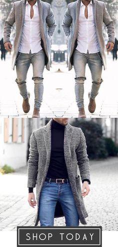 Color Langarm Warm Coat - Herren anzug - Moda World Mens Fashion Winter Wear, Fashion Wear, Look Fashion, Fashion Outfits, Cool Outfits, Casual Outfits, Men Casual, Herren Outfit, Man Stuff