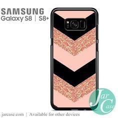 Pink Glitter Chevron Phone Case for Samsung Galaxy S8 & S8 Plus