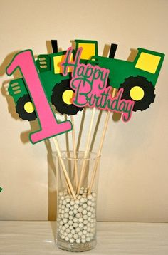 5 Piece Hot pink, Green and Yellow Tractor Centerpieces on Etsy, $15.99