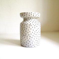 Ceramic Black and White Polka Dot Cinched Vase