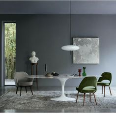 Buy the Tulip Dining Table Arabescato Marble & White Base Oval by Eero Saarinen and more online today at The Conran Shop, the home of classic and contemporary design Mesa Saarinen Oval, Saarinen Tisch, Saarinen Table, Knoll Table, Tulip Dining Table, Oval Table, Dining Room Table, Design Tisch, Table Design