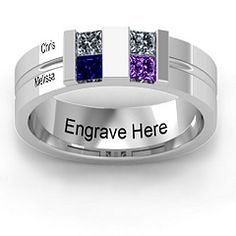 """Would wear this as a family ring... use birthstones of each family member... $159... """"Leonidas Grooved Men's Ring"""""""