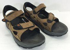 Merrell Sport Sandals 11 Mens Rapid Pulse Leather Smoke Velcro Brown #Merrell #SportSandals