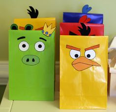love these party favor bags for an Angry Birds Party!  Use your Xyron to apply the faces.