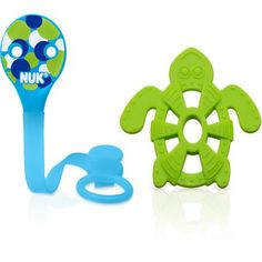 NUK Pacifier Clip and Turtle Teether (Color May Vary)