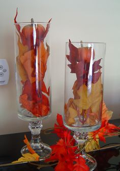 Dollare store vase, glued to dollare store candle sticks filled with pumpkins and leaves. Simply Designing with Ashley Phipps: Thanksgiving Decor